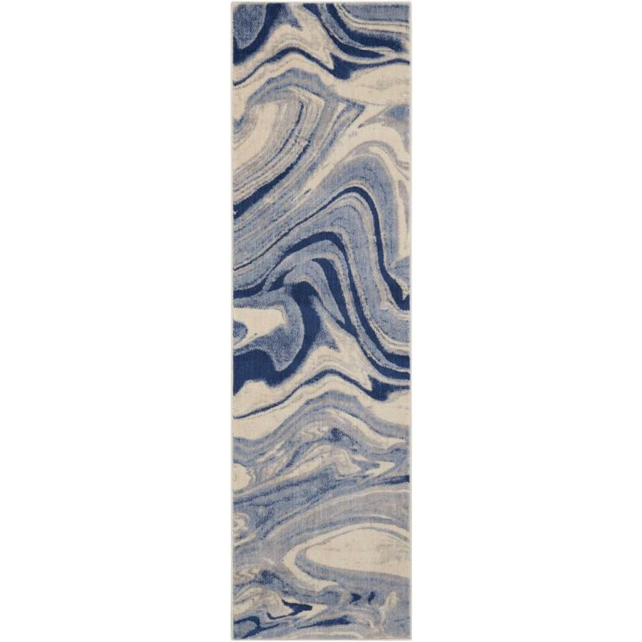 Nourison Somerset Light Blue Indoor Area Rug (Common: 2 x 7; Actual: 2.25-ft W x 8-ft L)