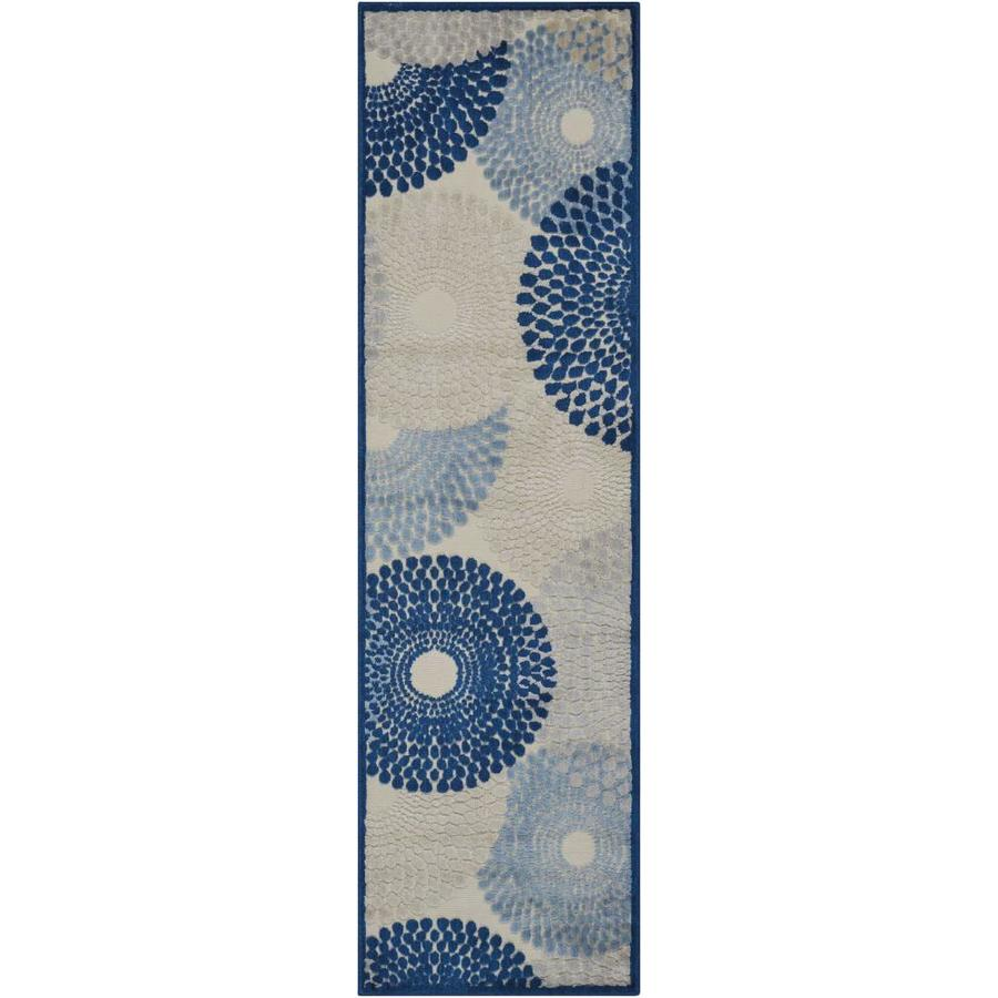 Nourison Graphic Illusions Ivory Blue Area Rug (Common: 2 x 7; Actual: 2.25-ft W x 8-ft L)