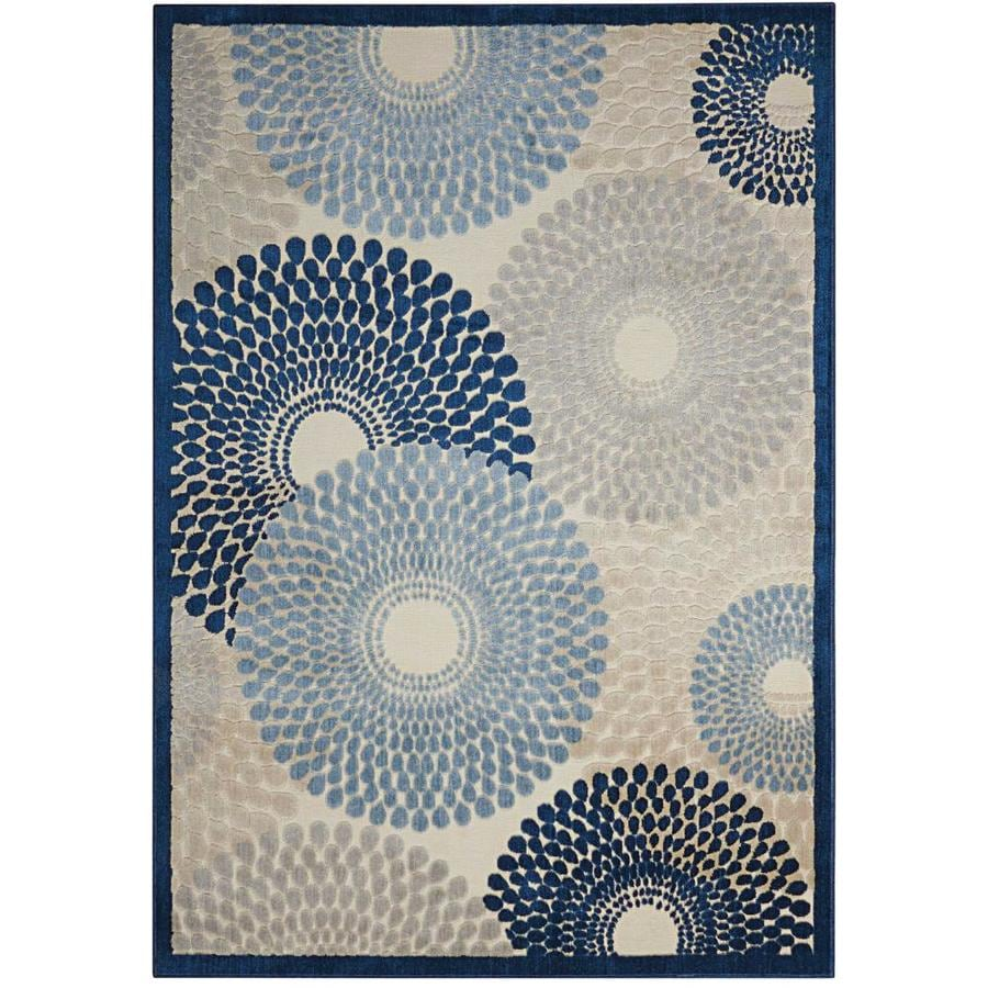 Nourison Graphic Illusions Ivory Blue Indoor Area Rug (Common: 3 x 5; Actual: 3.5-ft W x 5.5-ft L x 0.5-ft dia)