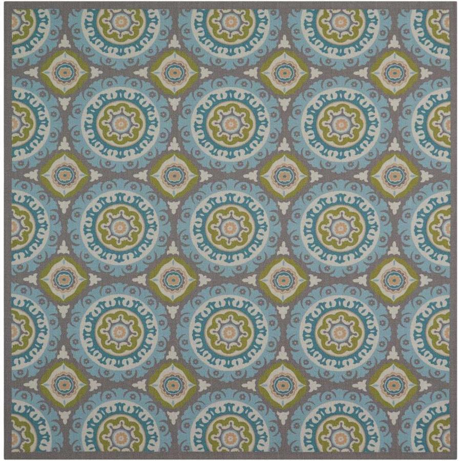 Nourison Wav01/Sun and Shade Green Rectangular Indoor/Outdoor Area Rug (Common: 7 x 7; Actual: 6.5-ft W x 6.5-ft L x 0.25-ft dia)