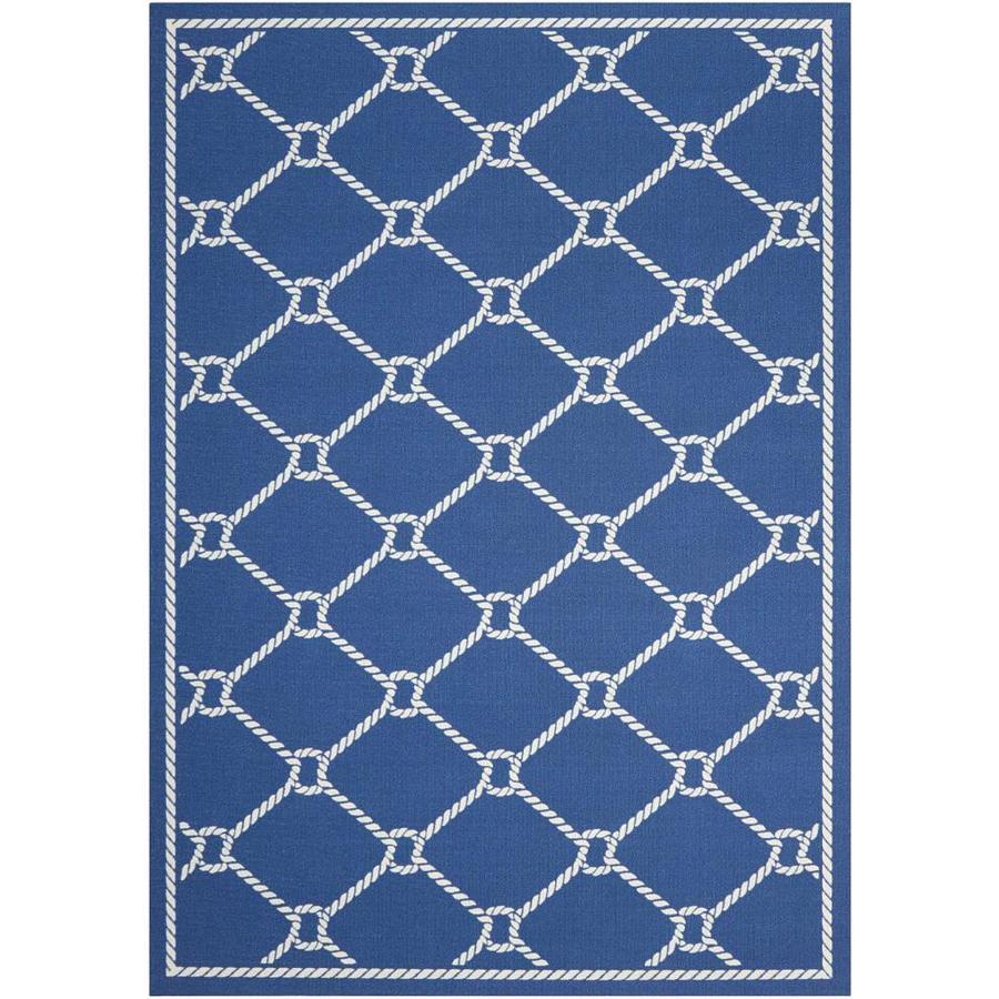 Nourison Wav01/Sun and Shade Navy Rectangular Indoor/Outdoor Area Rug (Common: 5 x 7; Actual: 5.25-ft W x 7.42-ft L x 0.25-ft dia)