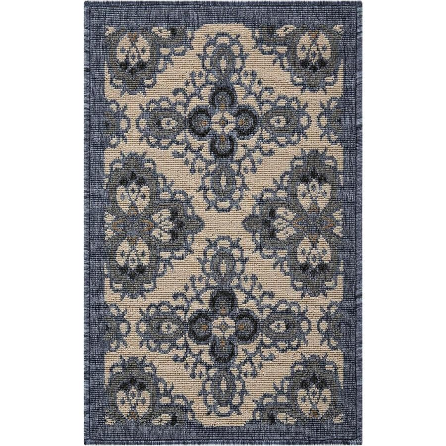 Nourison Caribbean Ivory Blue Indoor/Outdoor Area Rug (Common: 2 x 3; Actual: 1.75-ft W x 2.75-ft L x 0.25-ft dia)
