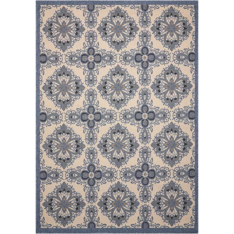 Nourison Caribbean Ivory Blue Indoor/Outdoor Area Rug (Common: 3 x 4; Actual: 2.5-ft W x 4-ft L x 0.25-ft dia)