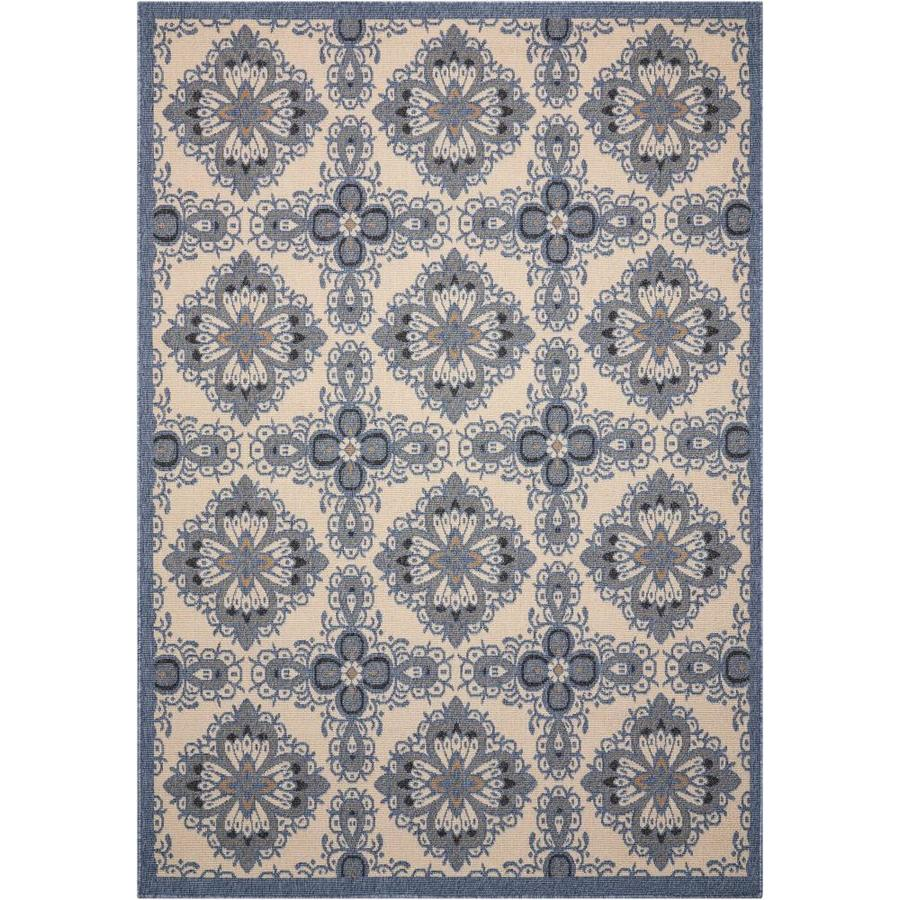 Nourison Caribbean Ivory Blue Rectangular Indoor/Outdoor Area Rug (Common: 3 x 5; Actual: 3.92-ft W x 5.92-ft L x 0.25-ft dia)