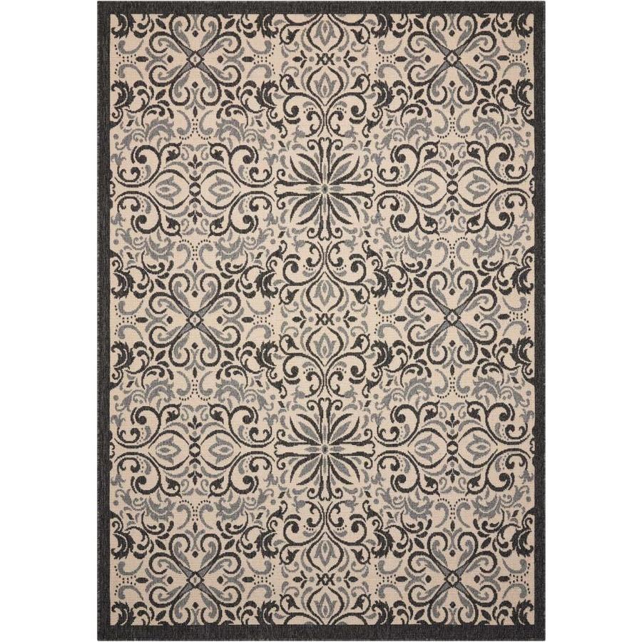 Nourison Caribbean Ivory/Charcoal Rectangular Indoor/Outdoor Area Rug (Common: 3 x 4; Actual: 2.5-ft W x 4-ft L x 0.25-ft dia)