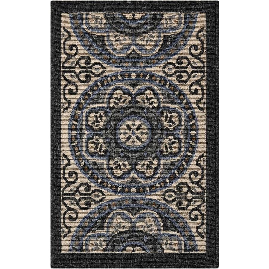 Nourison Caribbean Ivory/Charcoal Indoor/Outdoor Area Rug (Common: 2 x 3; Actual: 1.75-ft W x 2.75-ft L)