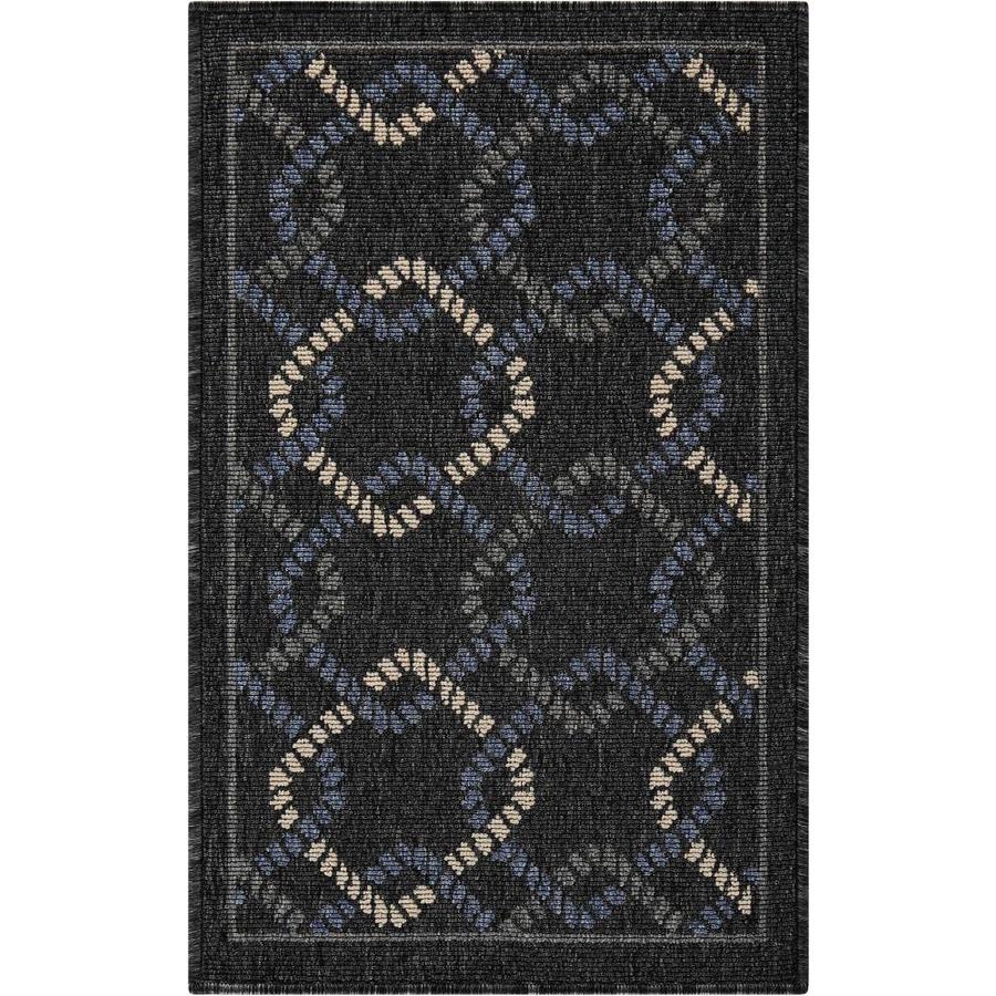 Nourison CARIBBEAN Charcoal Rectangular Indoor/Outdoor Machine Woven Outdoor Area Rug (Common: 2 x 3; Actual: 1-ft W x 2-ft L)