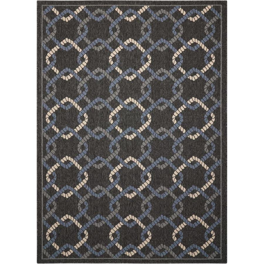 Nourison Caribbean Charcoal Rectangular Indoor/Outdoor Area Rug (Common: 3 x 5; Actual: 3.92-ft W x 5.92-ft L x 0.25-ft dia)