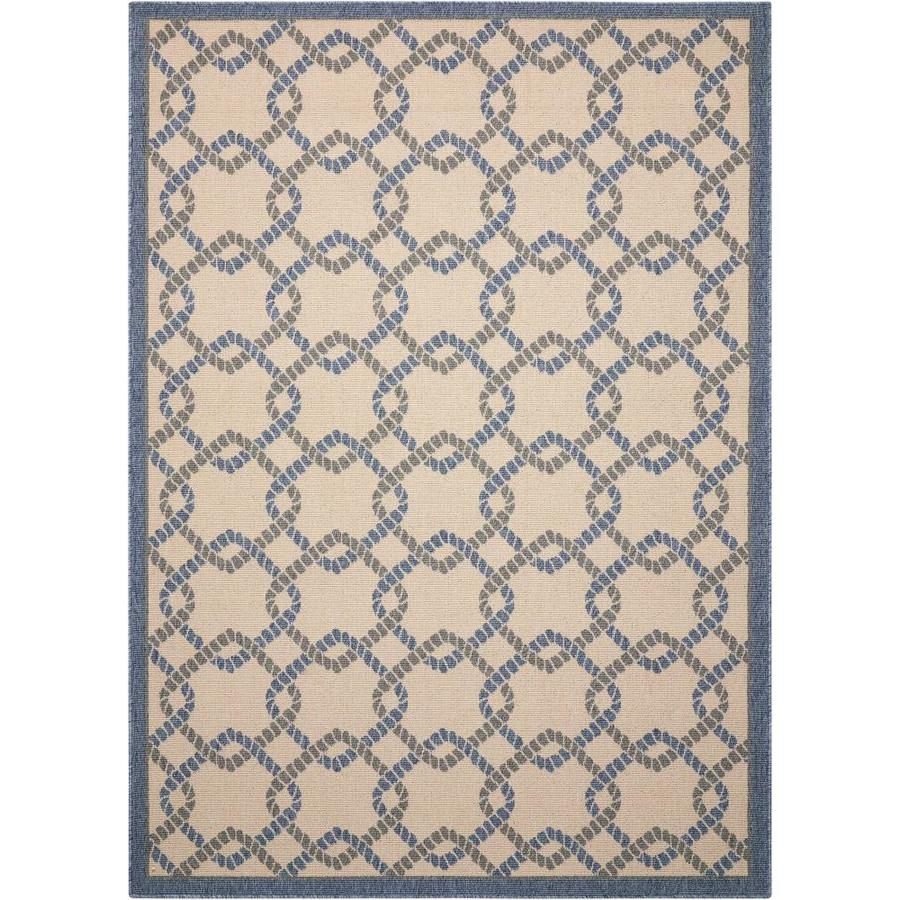 Nourison Caribbean Ivory Blue Rectangular Indoor/Outdoor Area Rug (Common: 2 x 7; Actual: 2.25-ft W x 7.5-ft L x 0.25-ft dia)