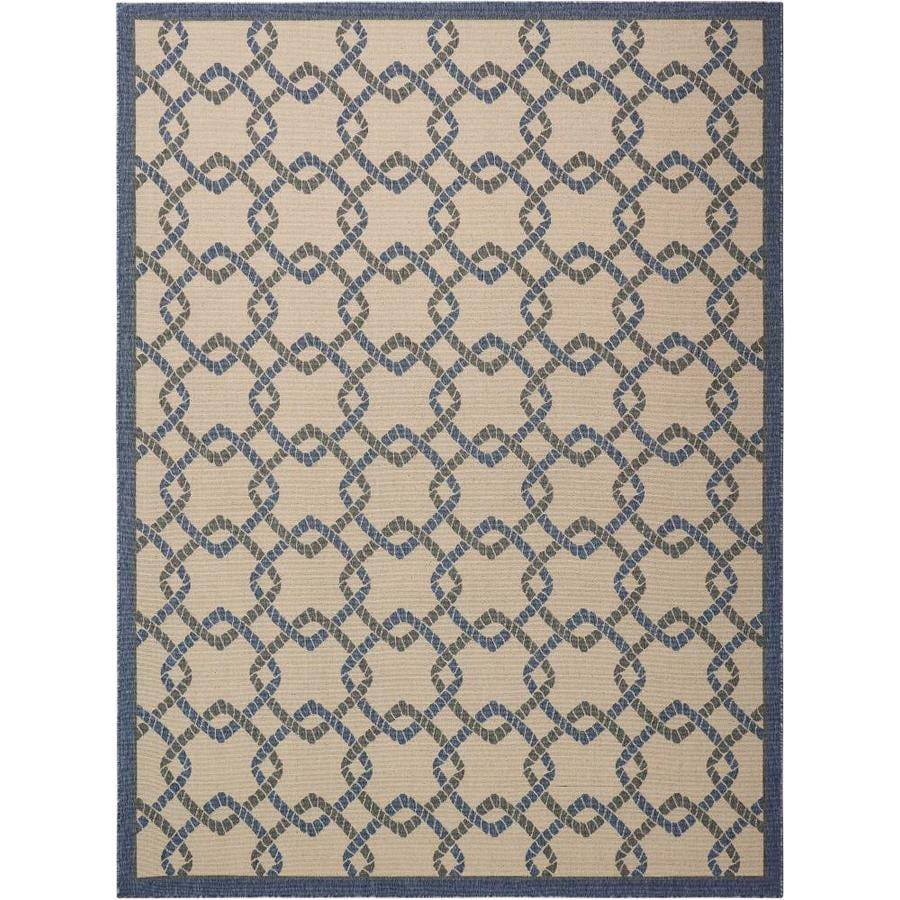 Outdoor Rug 7 X 10: Nourison Caribbean Ivory Blue Indoor/Outdoor Area Rug