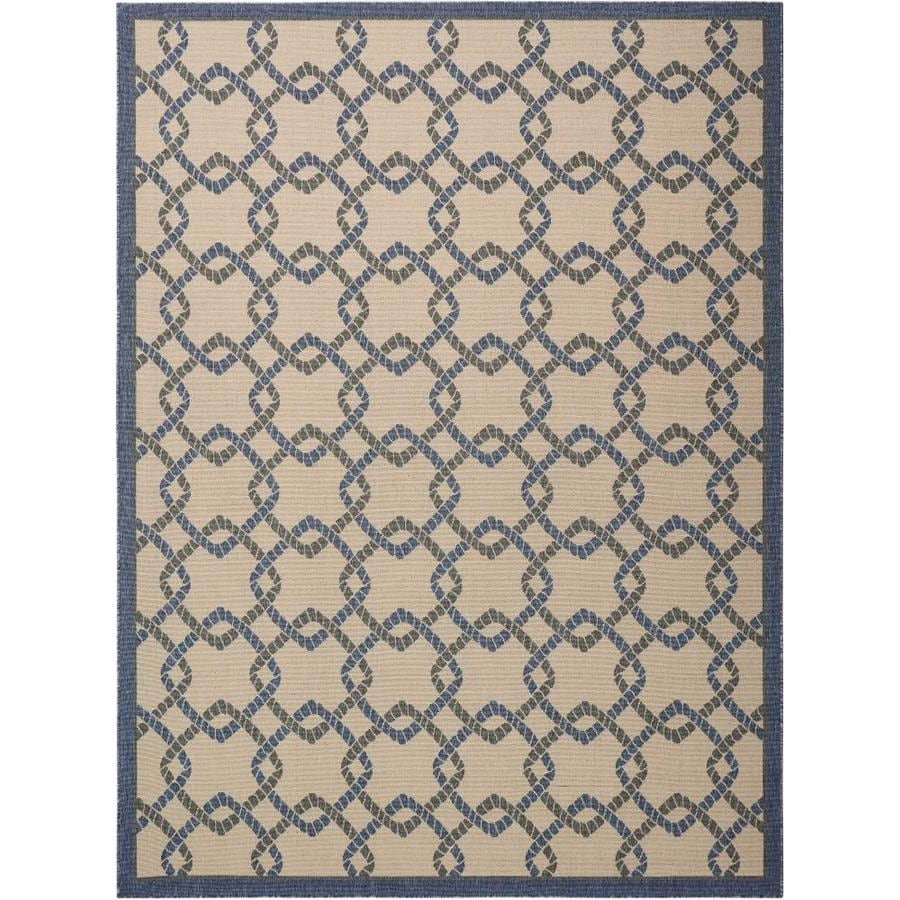 Nourison Caribbean Ivory Blue Indoor/Outdoor Area Rug (Common: 9 x 13; Actual: 9.25-ft W x 12.75-ft L x 0.25-ft dia)