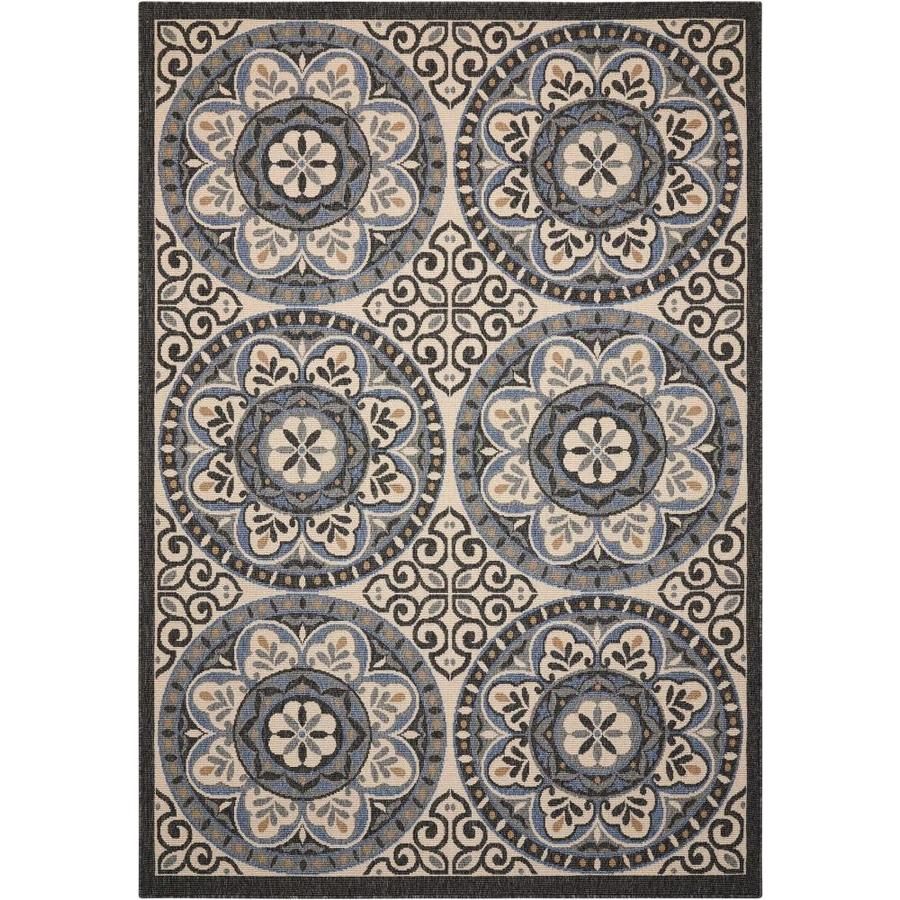 Nourison Caribbean Ivory/Charcoal Rectangular Indoor/Outdoor Area Rug (Common: 5 x 7; Actual: 5.25-ft W x 7.42-ft L x 0.25-ft dia)