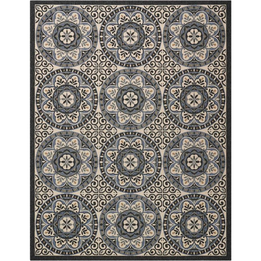 Nourison Caribbean Ivory/Charcoal Indoor/Outdoor Area Rug (Common: 9 x 13; Actual: 9.25-ft W x 12.75-ft L x 0.25-ft dia)