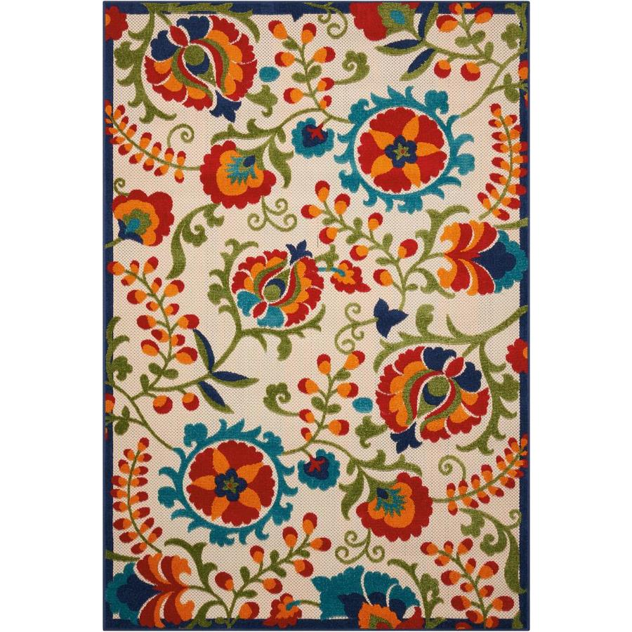 Nourison Aloha Multicolor Rectangular Indoor/Outdoor Area Rug (Common: 3 x 5; Actual: 3.5-ft W x 5.5-ft L x 0.25-ft dia)