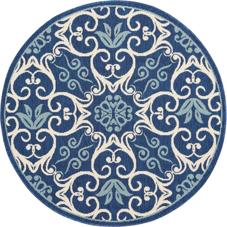 Nourison Caribbean 4 X 4 Navy Round Indoor Outdoor Abstract Coastal Area Rug In The Rugs Department At Lowes Com