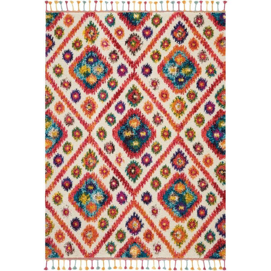 Nourison Moroccan Casbah Navy Indoor Moroccan Area Rug: Nourison Moroccan Casbah Ivory/Pink Rectangular Indoor
