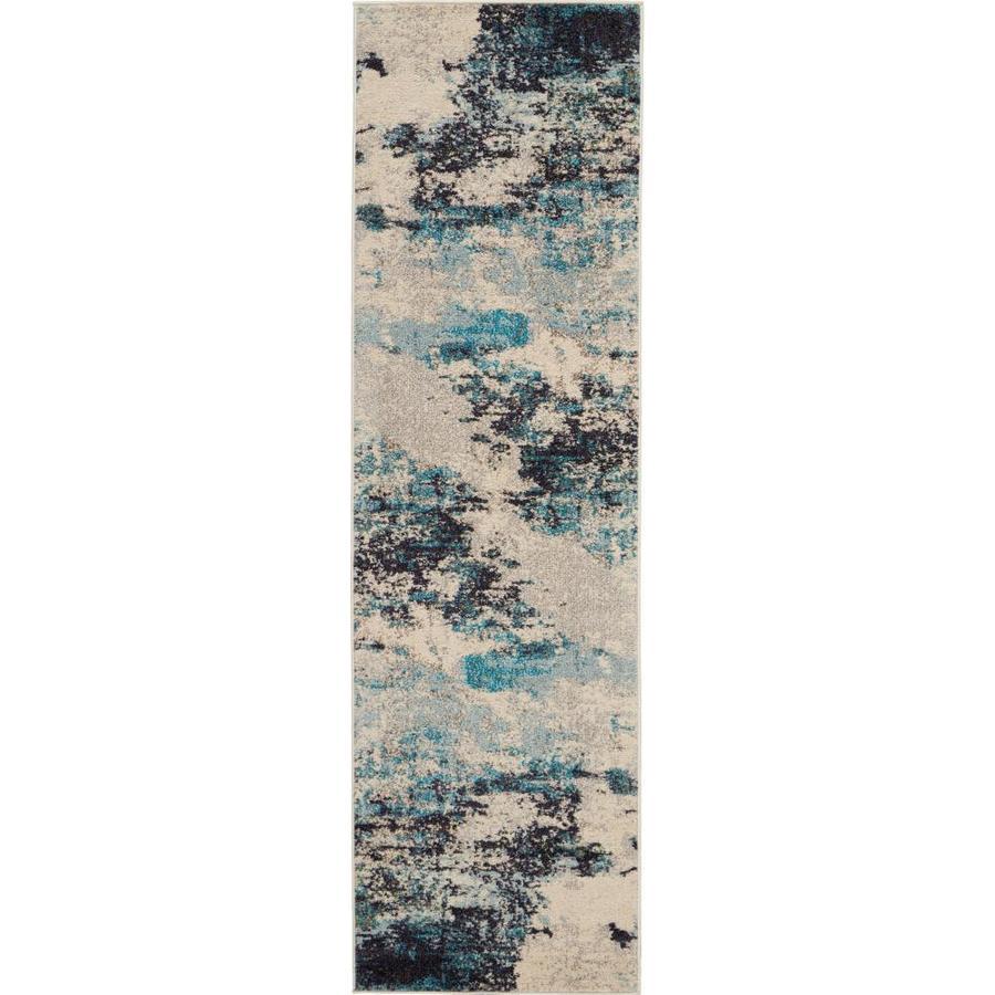 Nourison Celestial Ivory Teal Blue Irregular Indoor