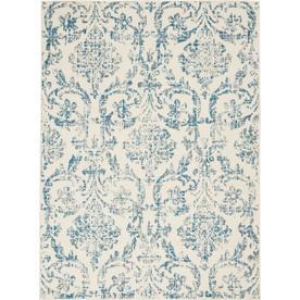 Nourison Jubilant JUB09 Ivory/Blue Indoor Area Rug 53u0022 x 73u0022