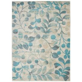 Nourison Tranquil TRA03 Ivory/Turquoise Indoor Area Rug 4 x 6