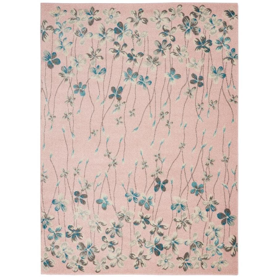 Nourison Tranquil 6 Ft X 9 Ft Pink Floral Area Rug At Lowes