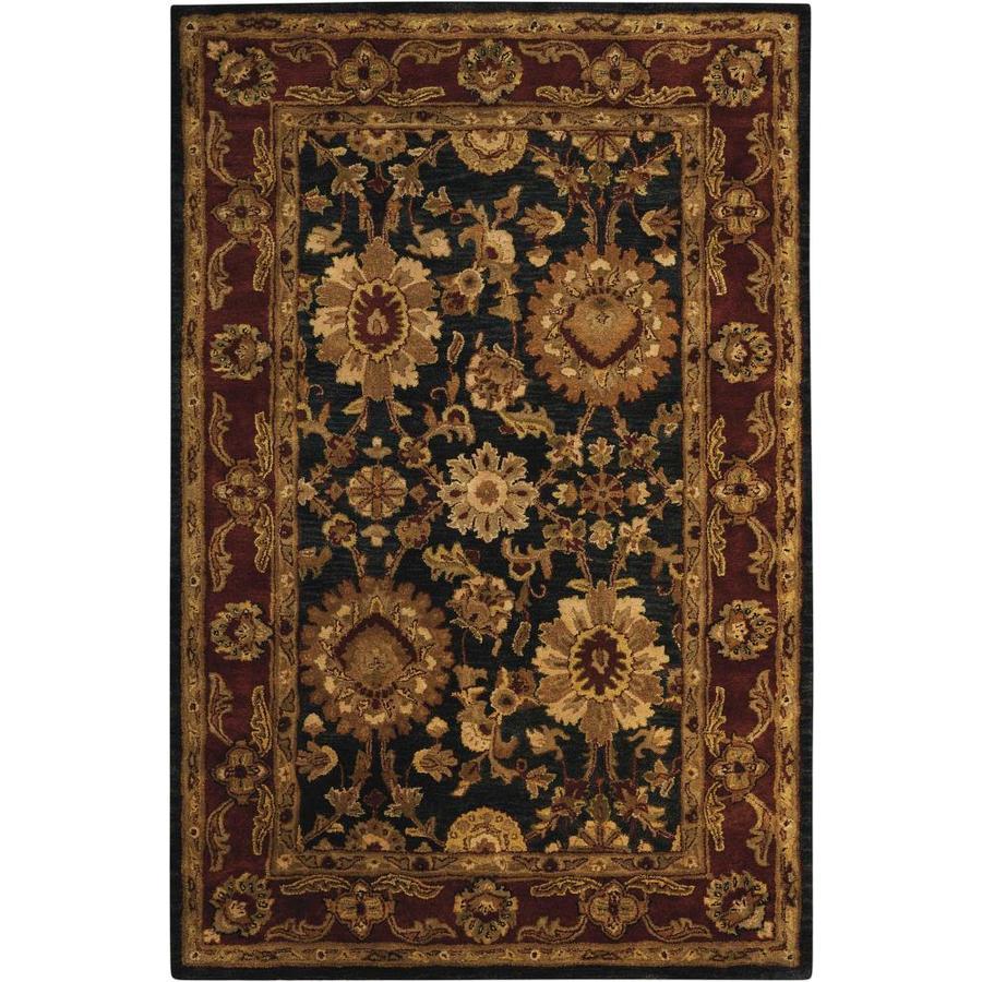 Nourison Jaipur Black Rectangular Indoor Handcrafted Area Rug (Common: 3 x 5; Actual: 3.75-ft W x 5.75-ft L x 0.75-ft dia)