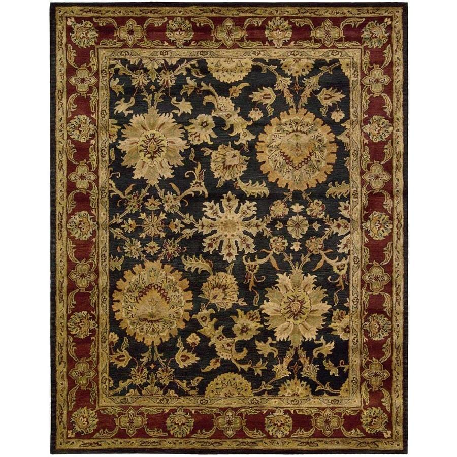 Nourison Jaipur Black Rectangular Indoor Handcrafted Area Rug (Common: 8 x 11; Actual: 8.25-ft W x 11.5-ft L x 0.75-ft dia)