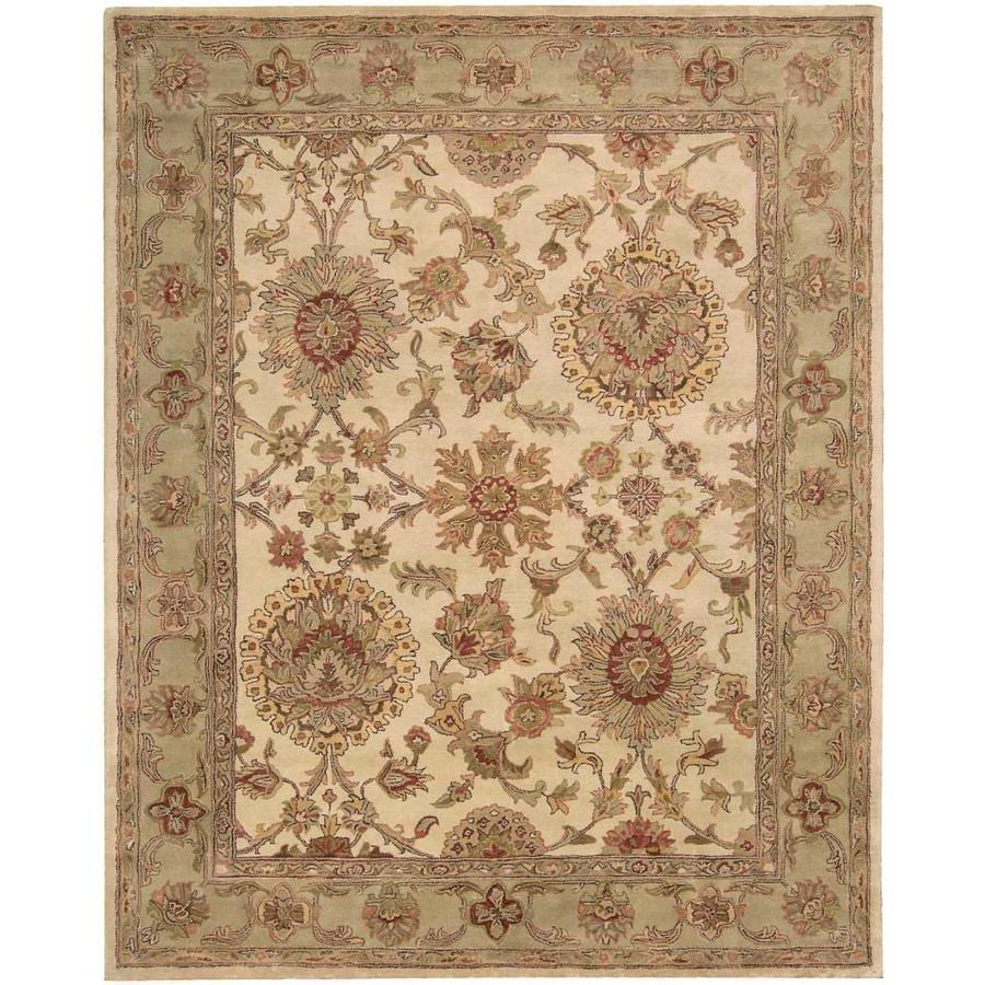 Nourison Jaipur Ivory Indoor Handcrafted Area Rug (Common: 9 x 13; Actual: 9.5-ft W x 13.5-ft L x 0.75-ft dia)