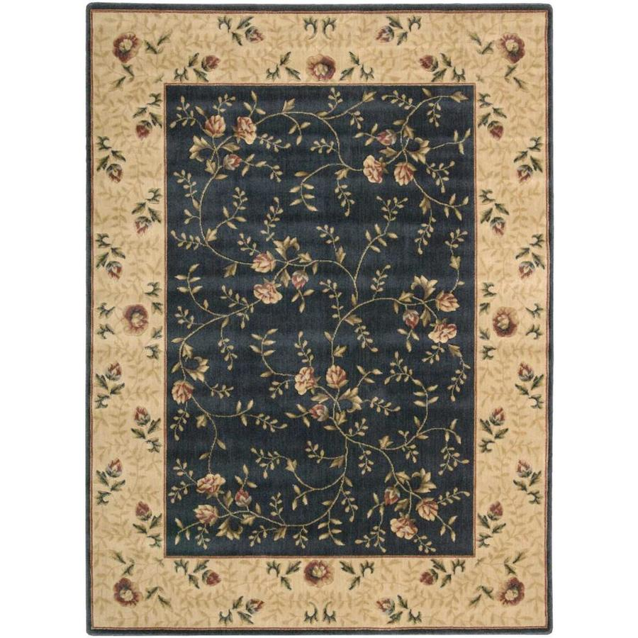 Nourison Somerset Navy Rectangular Indoor Area Rug (Common: 3 x 5; Actual: 3.5-ft W x 5.5-ft L x 0.5-ft dia)