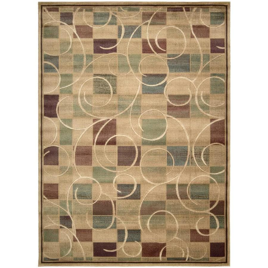 Nourison EXPRESSIONS Beige Rectangular Indoor Machine Woven Modern/Contemporary Area Rug