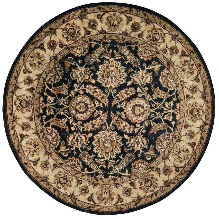 Nourison Jaipur Black Round Indoor Handcrafted Area Rug (Common: 6 x 6; Actual: 6-ft W x 6-ft L x 0.75-ft dia)