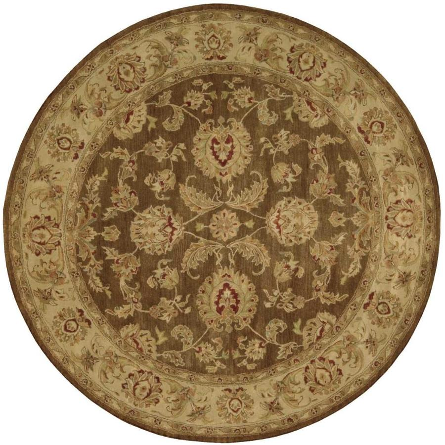 Nourison Jaipur Brown Round Indoor Handcrafted Area Rug (Common: 8 x 8; Actual: 8-ft W x 8-ft L x 0.75-ft dia)