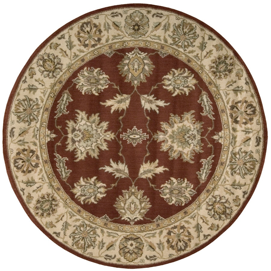 Nourison Round Red Transitional Woven Wool Area Rug (Common: 6-ft x 6-ft; Actual: 5.5-ft x 5.5-ft)