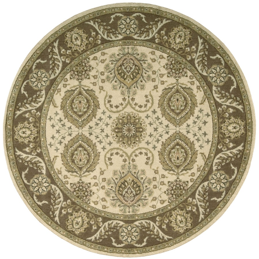Nourison Round Cream Transitional Woven Wool Area Rug (Common: 8-ft x 8-ft; Actual: 5.5-ft x 5.5-ft)