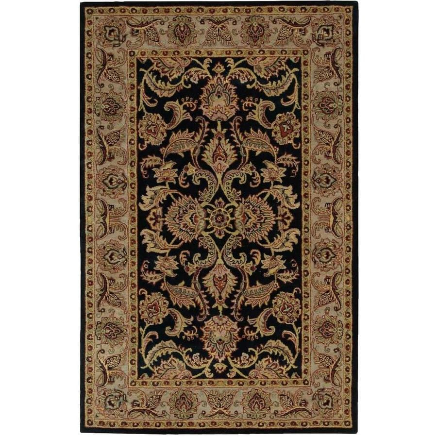 Nourison India House Black Rectangular Indoor Handcrafted Oriental Area Rug (Common: 4 x 6; Actual: 3.6-ft W x 5.6-ft L)