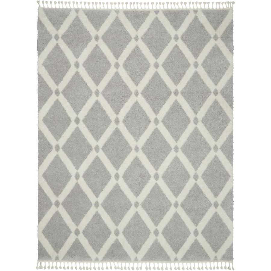 Nourison Diamond Trellis Shag 5 X 8 Grey Ivory Indoor Geometric Moroccan Area Rug In The Rugs Department At Lowes Com