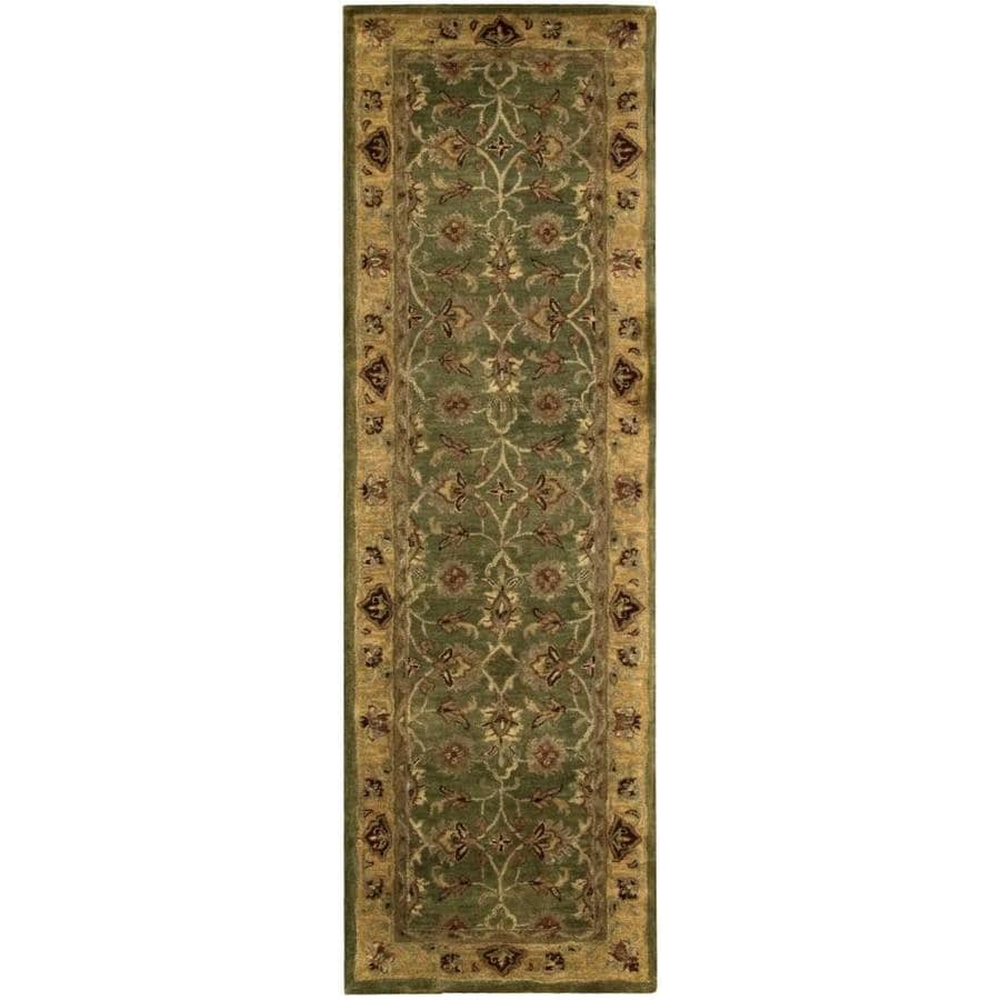 Nourison Jaipur Green Rectangular Indoor Handcrafted Area Rug (Common: 2 x 8; Actual: 2.33-ft W x 8-ft L x 0.75-ft dia)