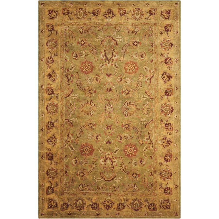 Nourison Jaipur Green Indoor Handcrafted Area Rug (Common: 5 x 7; Actual: 5.5-ft W x 8.5-ft L x 0.75-ft dia)