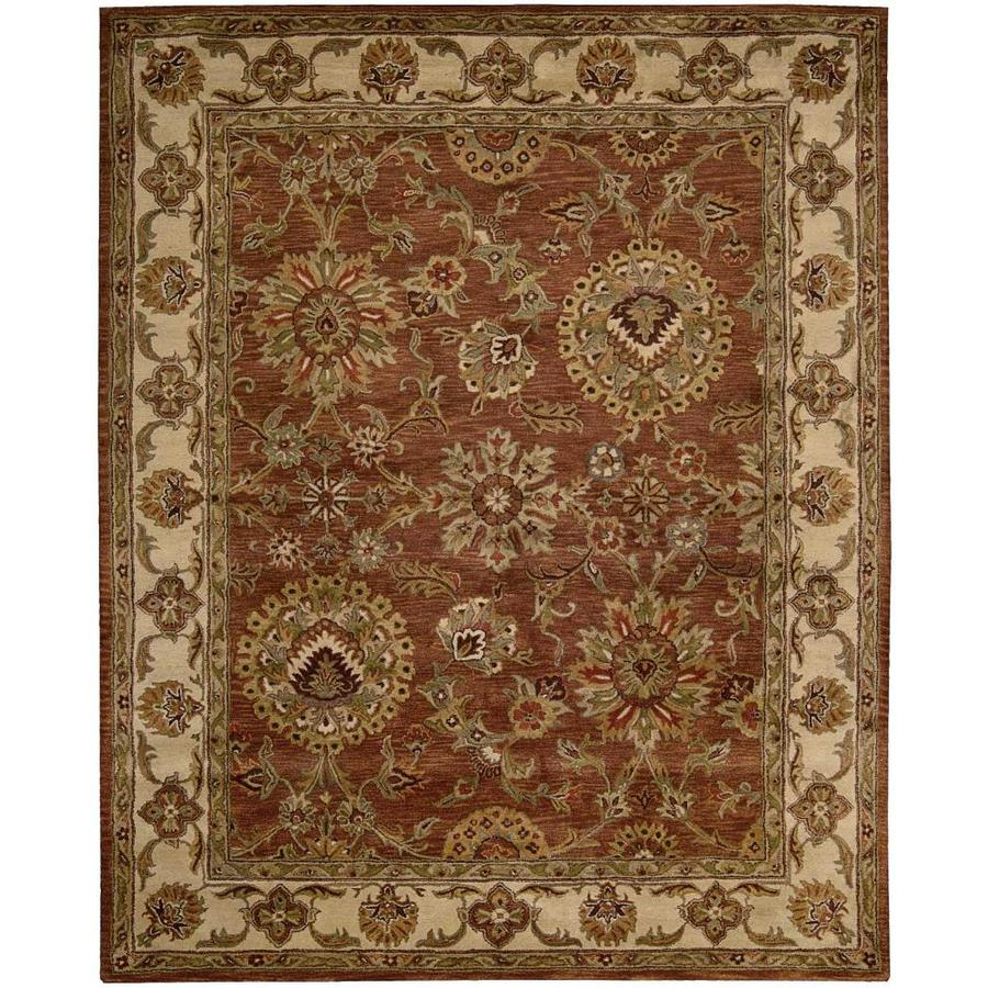 Nourison Jaipur Rust Rectangular Indoor Handcrafted Area Rug (Common: 8 x 10; Actual: 7.75-ft W x 9.75-ft L x 0.75-ft dia)