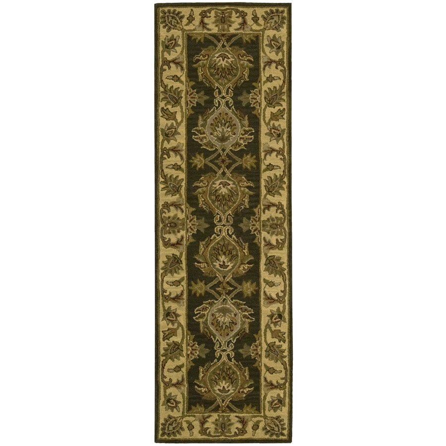 Nourison India House Green Tufted Wool Runner (Common: 2-ft x 8-ft; Actual: 2.25-ft x 7.5-ft)