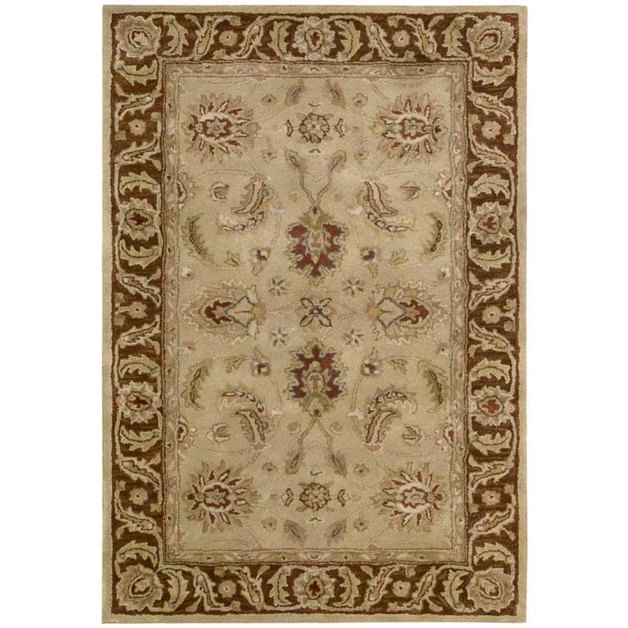 Nourison Jaipur Beige Indoor Handcrafted Area Rug (Common: 3 x 5; Actual: 3.75-ft W x 5.75-ft L x 0.6-ft dia)