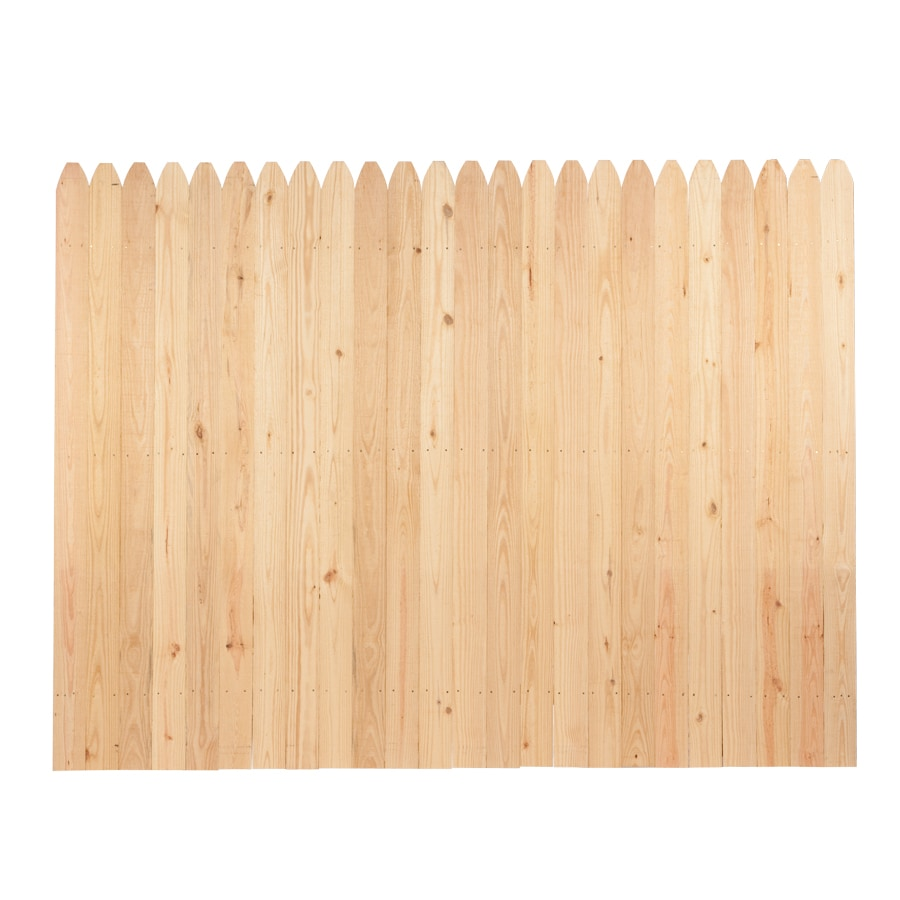 spruce stockade wood fence panel common 6 ft x 8 ft. Black Bedroom Furniture Sets. Home Design Ideas