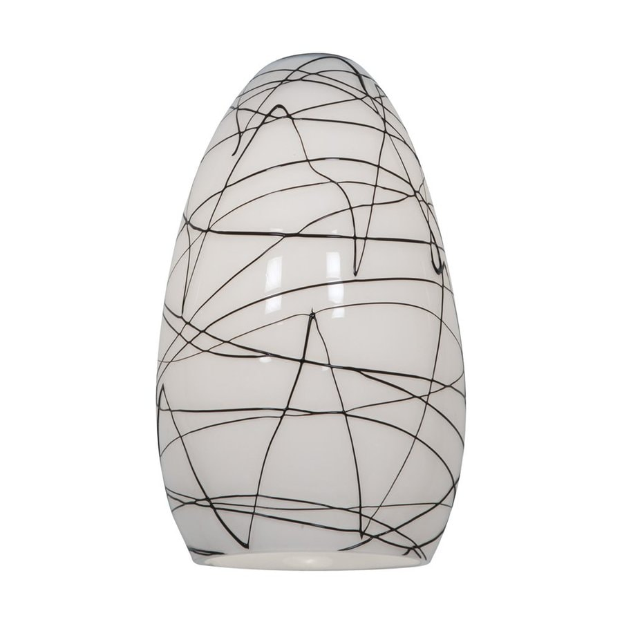 Access Lighting Champagne 9-in H 5-in W Black and White Art Glass Teardrop Pendant Light Shade