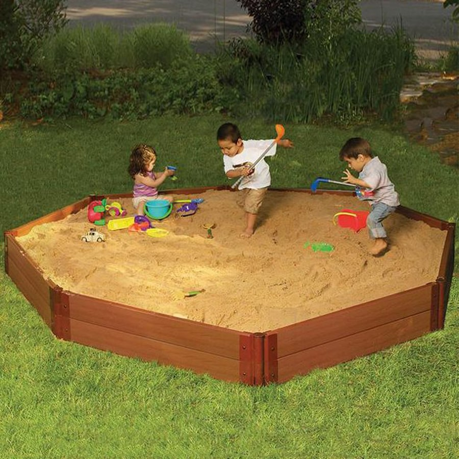 Frame It All 120-in x 120-in Brown Octagon Composite Sandbox