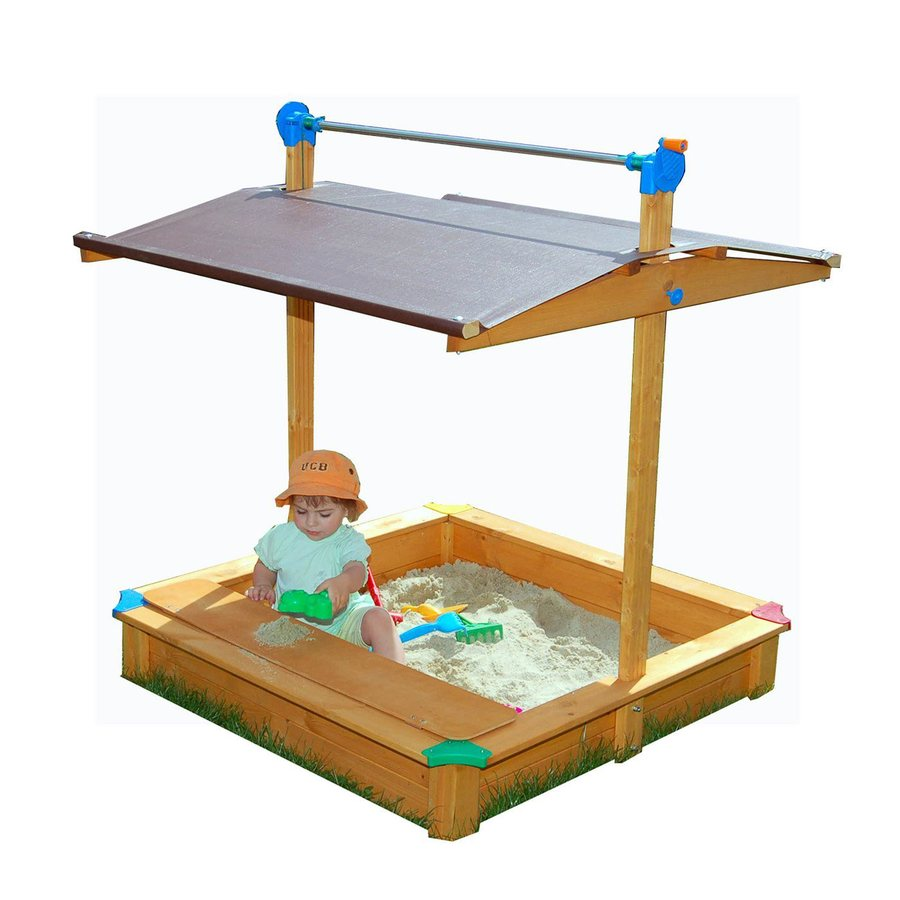Exaco 44-in x 44-in Brown Square Wood Sandbox