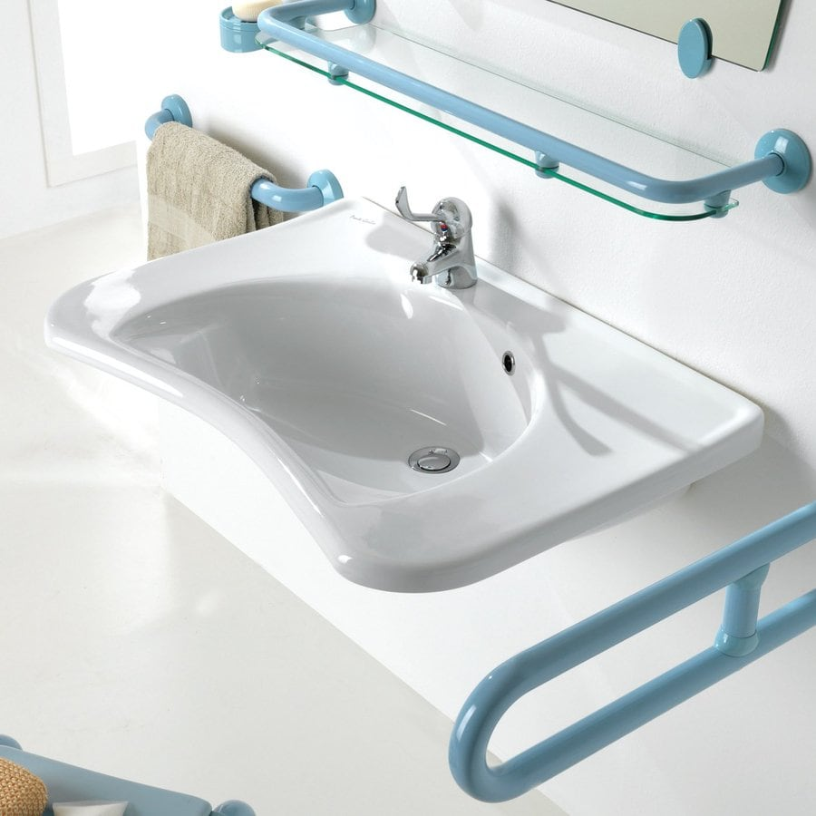 Ponte Giulio USA Sanitary Wares and Ancillaries Enamel White Wall-Mount Semi-Circle Bathroom Sink with Overflow