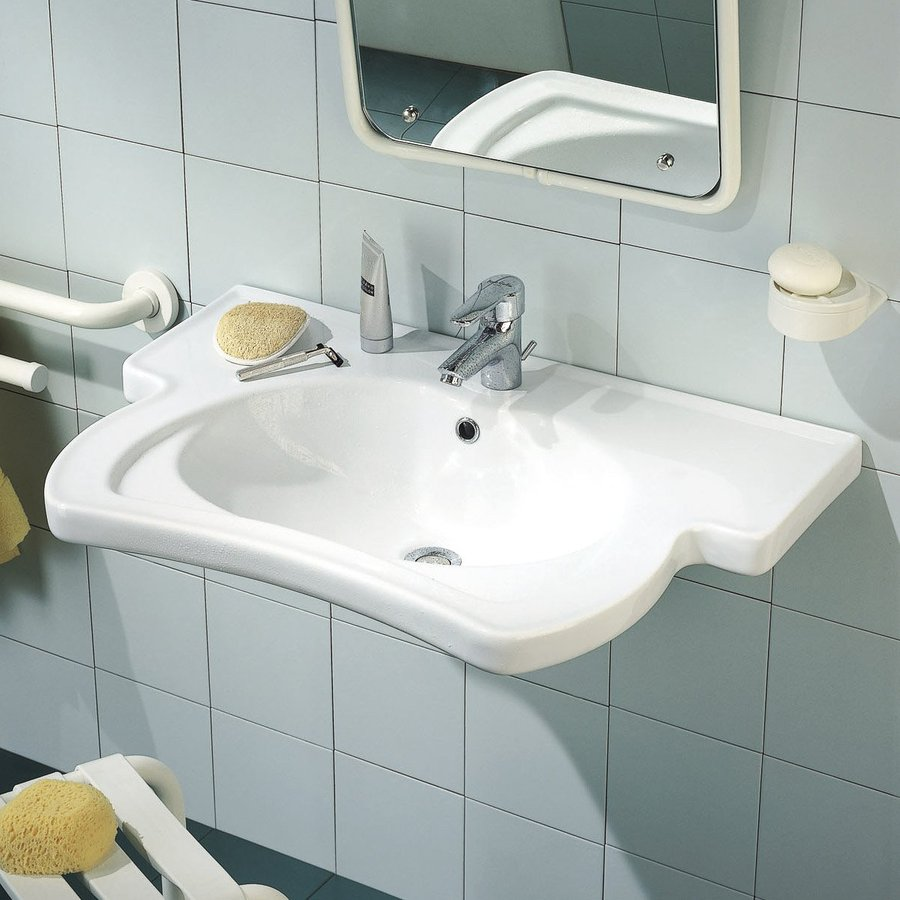 Ponte Giulio USA Sanitary Wares and Ancillaries Enamel White Wall-Mount Semi-Circle Bathroom Sink