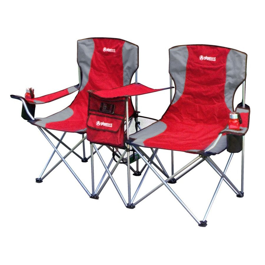 Gigatent Red Steel Folding Side-By-Side Double Camping Chair