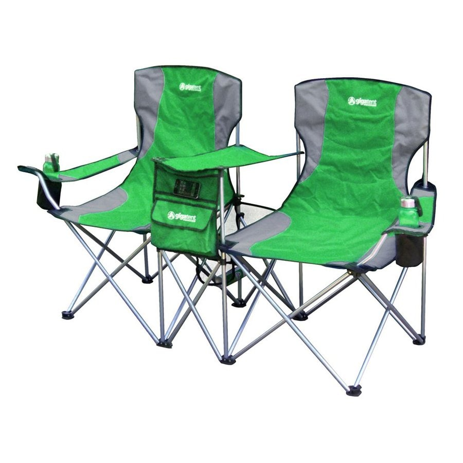 Gigatent Green Steel Folding Side-By-Side Double Camping Chair