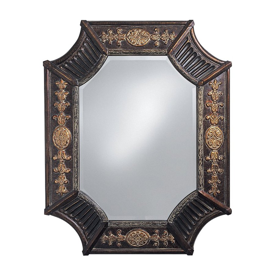 Tyler Dillon Orion 32-in x 39-in French Brown Beveled Octagon Framed French Wall Mirror