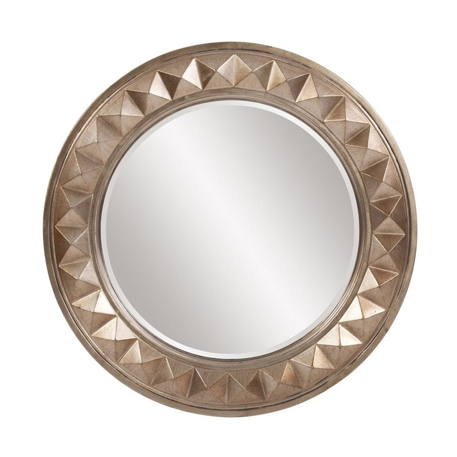 Tyler Dillon Fantasia 32-in x 32-in Champagne Gold Beveled Round Framed Transitional Wall Mirror